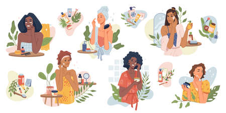 Beauty girls take care of skin and applying cosmetics on face flat cartoon vector illustrations set. Women making facial massages, self care routine, moisturizing and hygiene, natural herbal products