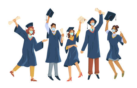 Happy graduates in protective medical masks celebrate graduation during virus quarantine isolate flat cartoon people. Vector boys and girls having fun jump and toss up mortarboards and diplomas