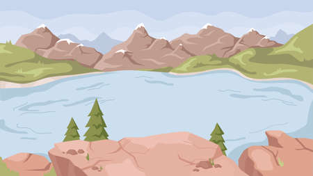 Rocky mountains, speed rivers streams flat cartoon background. Vector panorama of spring summer beautiful nature, green grasslands, fir trees and scenic blue lake, high hills on horizon, landscape