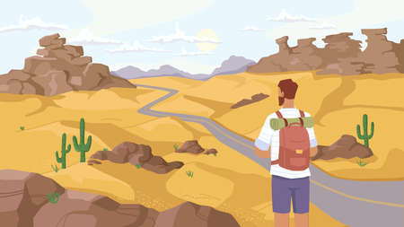 Travel in Sahara desert, man traveler observe beautiful landscape on savanna, rocky mountains and green cactus plants. Back view of guy with rucksack watch on road in sand, outdoor adventure