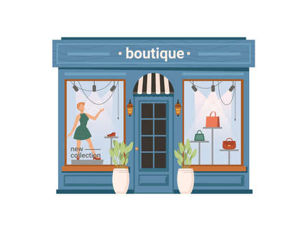 Boutique shop facade exterior isolated clothing store, cartoon building. Vector window with mannequin, shopfront with modern cloths, small city mall with dummy, urban showroom, flowerpots at entrance