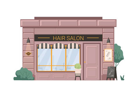 Hair salon barber beauty shop isolated flat cartoon building. Vector hairdresser small business retail store. Barbershop facade exterior, entrance and shop window, scissors hair cutters on billboard
