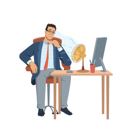 Man sitting at table with computer and stationery, fan blowing on him. Vector businessman in glasses sitting at comfortable workplace. Heat in office, hot temperature, refreshing summer cooler