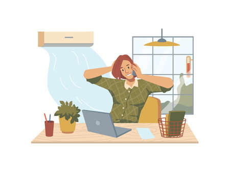 Woman sitting at table with laptop, flower pot, lamp and window, blowing air conditioner. Vector businessman speaking telephone at comfortable workplace. Heat in office, hot temperature, summertime