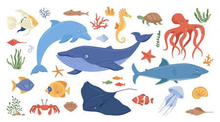 Ocean animals set isolated flat cartoon icons. Vector marine creatures, childish kids underwater animals. Seaweed, algae and seashells, jellyfish and whale, shark and turtle, squid and clown fish