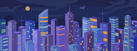 Modern metropolis at night city panorama, skyscrapers, real estate houses landscape flat cartoon vector illustration. Downtown at evening, facades of urban buildings, light in windows, cityscape