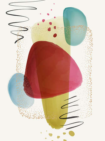 Poster, transparent texture watercolor, brushes and gold dots frame, calligraphic strokes, splashes, background. Vector abstract design with blobs and brush strokes, shapes and frame, 3d texture Illustration