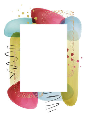 White frame with transparent texture watercolor composition, brushes and gold dots, calligraphic strokes and splashes on background. Vector photoframe with blobs and blotches, painted geometric shapes Illustration
