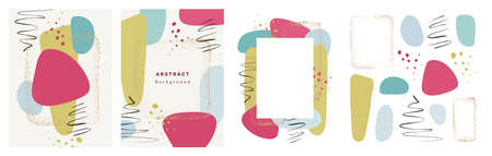 Abstract minimal liquid shape, blob, gold dots frame, calligraphic strokes, splashes set, poster collection. Vector brochure covers, frame with watercolor backgrounds, banner with pastel spot bubbles Illustration