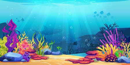 Coral reef underwater world with marine animals silhouettes and algae seaweeds, sea bottom cartoon background. Vector undersea plants, aquarium with seafloor, marine wildlife scenery on depth