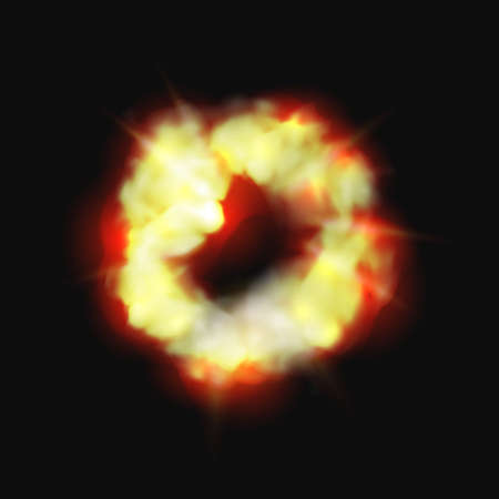 Bomb and fire explosion isolated cartoon burning cloud. Vector dynamite detonator mobile and ui game animation icon. Realistic fiery boom, danger explosive detonation atomic cloud bursting over black