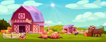Colorful farmyard with domestic animals and poultry outside wooden barn green rural scenery vector illustration. Farm landscape, chicken coop, hens and rooster, cow eating hay, cute pigs, dog pet Illustration