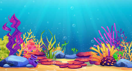 Corals and algae underwater world, sea bottom cartoon background. Vector seaweeds and stones undersea plants, aquarium with seafloor, marine wildlife scenery, bubbles and light, game design, diving.