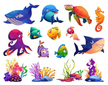Animals of ocean, corals and algae, set isolated cartoon icons. Vector dolphin and shark, whale and fish, turtle and jellyfish. Childish seabed sea bottom creatures, marine underwater plants Illustration