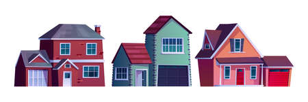 Suburban street, home rural country buildings isolated cartoon icons. Vector condominium apartments on rent, facade exterior of urban houses constructions. City architecture, housing collection. Illustration