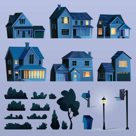 Set of suburban street elements at night, buildings with lights, late evening. Vector cottage houses, trees and bushes, lamp and waste bin, basketball stand cartoon icons. Urban town design objects. Illustration