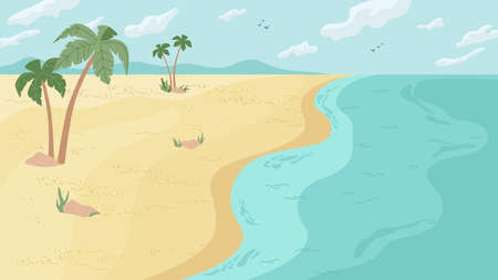 Summer beach landscape panorama, flat cartoon background. Vector paradise, ocean or sea seashore, water, sand and palm trees. Summertime holidays vacation, seaside seascape, blue sky with clouds. Illustration