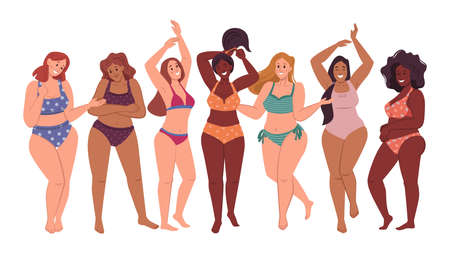 Body positive women in bikini swimsuits isolated flat cartoon characters. Vector full or plus size ladies different body types. Happy girls, beauty diversity. Woman with various skin and hair shades. Illustration