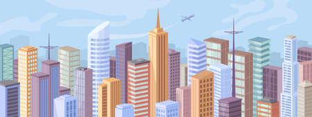 Downtown at day, facade exteriors of urban buildings, flat cartoon design. Vector modern city panorama, skyscraper offices, real estate houses. Cityscape background, big town architecture, blue sky.