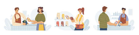 Contactless pay, people paying by smartphone, flat cartoon vector illustrations set. Mobile payments for purchases via nfc. Supermarket store counter cashier and buyer, shopper and vendor at shop. Illustration