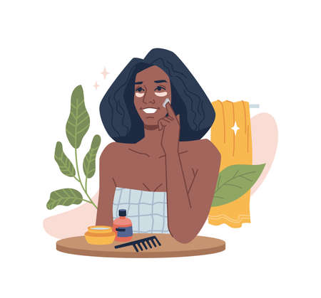 Woman take care of face skin with cream, afro american beauty girl use natural organic cosmetics, skincare flat cartoon vector illustration. Facial massages, moisturizing and daily hygiene routine
