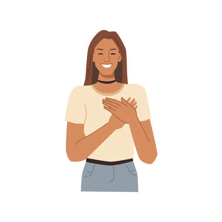 Smiling female character holding hands on hearts and thinking of pleasant feelings. Isolated stylish woman gesturing and expressing emotions. Teenager with smile. Vector in flat cartoon style.