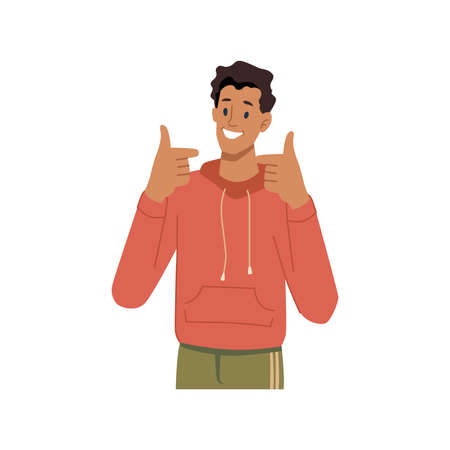 Smiling male character showing thumbs up, sign of approval or satisfaction. Isolated teenager wearing sweatshirt, student communicating with gestures. Cool and okay. Vector in flat cartoon style.