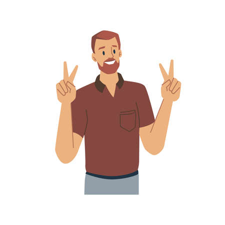 Cheerful male character showing peace sign or victory gesture with fingers. Isolated bearded man communicating with nonverbal means. Expression of feelings and emotions.
