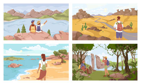Travelers on different terrain set, mountains, lake, seashore, jungle, desert. Vector man woman with rucksacks, flat cartoon. Tourists, young explorer travel together. Trekking people with backpack. Illustration