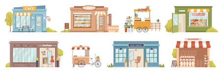 City street buildings facade exterior isolated retail local businesses. Vector cafe and bakery shop, flowers and grocery stores, clothing boutique and mobile kiosk. Hair salon and souvenirs market.