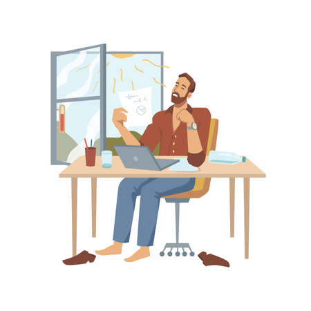 Male character working in hot office with high temperature and heat, opened window letting more sunshine inside room. Angry personage trying to concentrate on task. Vector in flat cartoon style. Illustration