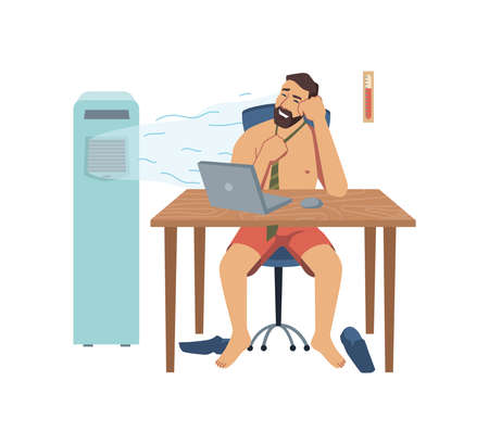 Male character working in summer heat office room, undressed man personage using portable air conditioner to cool down. Uncomfortable workplace for concentration. Vector in flat cartoon style.