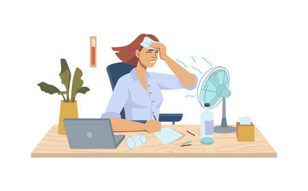 Heat in office, refreshing summer cooler ventilator blowing on woman at workplace, table with fan, laptop, potted plant and stationery, hot temperature. Worker suffering from warm flat cartoon vector.