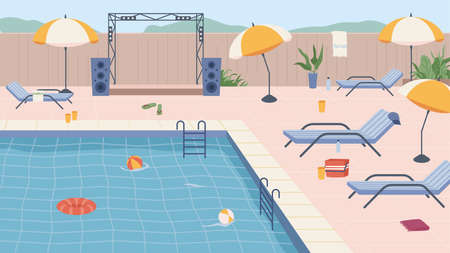 Furniture and umbrellas, inflatable lifebuoy and ball by pool party. Scene by water, luxurious resort or hotel, swimming and sunbathing recreation summer weekends or holidays. Vector in flat cartoon.