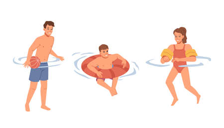 Kids learning how to swim, training boys and girl in swimming pool, ocean or sea water. Male and female character with inflatable vest. Resort and relaxation on vacations.