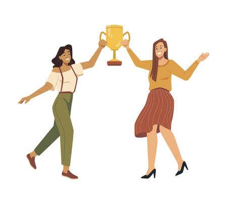 Women leaders holding trophy gold cup in hands, award for first place, best prize isolated vector flat cartoon characters. Businesswoman workers winners, victory, success and achievement concept. Illustration