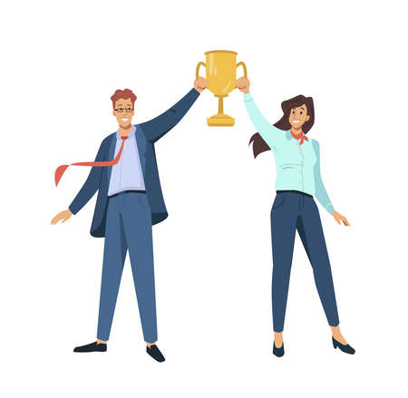 Couple of man and woman winners holding golden goblet above heads isolated flat cartoon characters. Vector happy successful people win award, goal achievement celebration, coworkers colleagues.