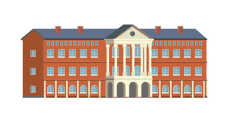 University, collage or school building isolated flat cartoon icon. Vector campus, retro library, government museum or institution. Town architecture structure, bank or academy, high school institute. Illustration