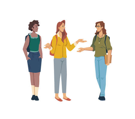 Students discuss problems in education and studying isolated flat cartoon characters. Vector talking females standing in line, high school girls in casual cloth, group or team discussion, conversation. Illustration
