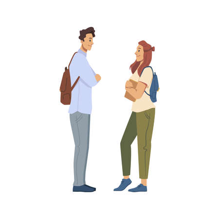 Male and female character talking or flirting, young boy and girl having conversation. University friends discussing classes, meeting man and woman wearing satchels. Vector in flat cartoon style. Illustration