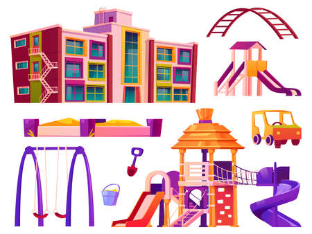 Playground and kindergarten elements, isolated swings and sandbox, attractions for kids. Building for preschoolers, set of constructions for leisure and fin of children. Amusement cartoon vector