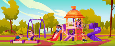 Playground with children playing games outdoors together. Happy childhood on attractions and swings. Kids in sandbox, boys and girls sitting outside. Summer relaxation and fun cartoon vector