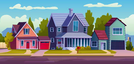 Urban or suburban neighborhood, background with cartoon homes with garages, green trees and driveway. Vector suburb village landscape with cottage houses, facade exterior of modern buildings, blue sky