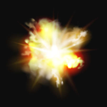 Fire explosion, bomb burst realistic 3D effect of burning fire and smoke. Vector fireworks, burning campfire or bonfire, nuclear energy explode, heat combustion. Blazing flammable pyro fireball 矢量图像