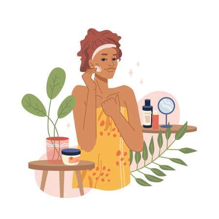 Girl take care of face skin, moisturizing and hygiene procedures organic herbal cream. Vector natural organic cosmetics, skincare flat cartoon vector illustration. Woman making facial massage