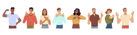Cheerful men and women gesturing and smiling. Heart sing and thumb up approval symbol, okay and love, luck and success. Male and female characters, young teenagers personages, flat cartoon vector