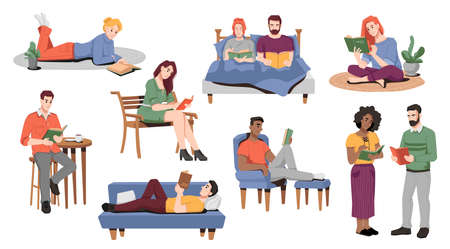 Men and women spending time at home reading books. Personages enjoying literature laying on sofa or bed. Males and females, students or adults with textbooks. Cartoon character, vector in flat style