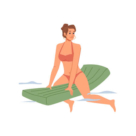 Adult woman in bikini swimsuit swims on inflatable mattress in water, summertime holiday vacation, recreation, flat cartoon character in swimwear isolated. Vector summer sport outdoors activity