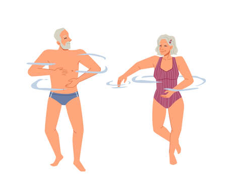 Smiling elderly European couple relaxing in outdoor pool, sea or ocean waters, flat cartoon characters isolated. Vector senior people in retirement or holiday, happy grandparents swimming together