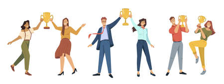 Winners holding trophy and awards, isolated business people, best employees for successful teams. Celebration of victory and luck, happy male and female characters. Vector in flat cartoon style